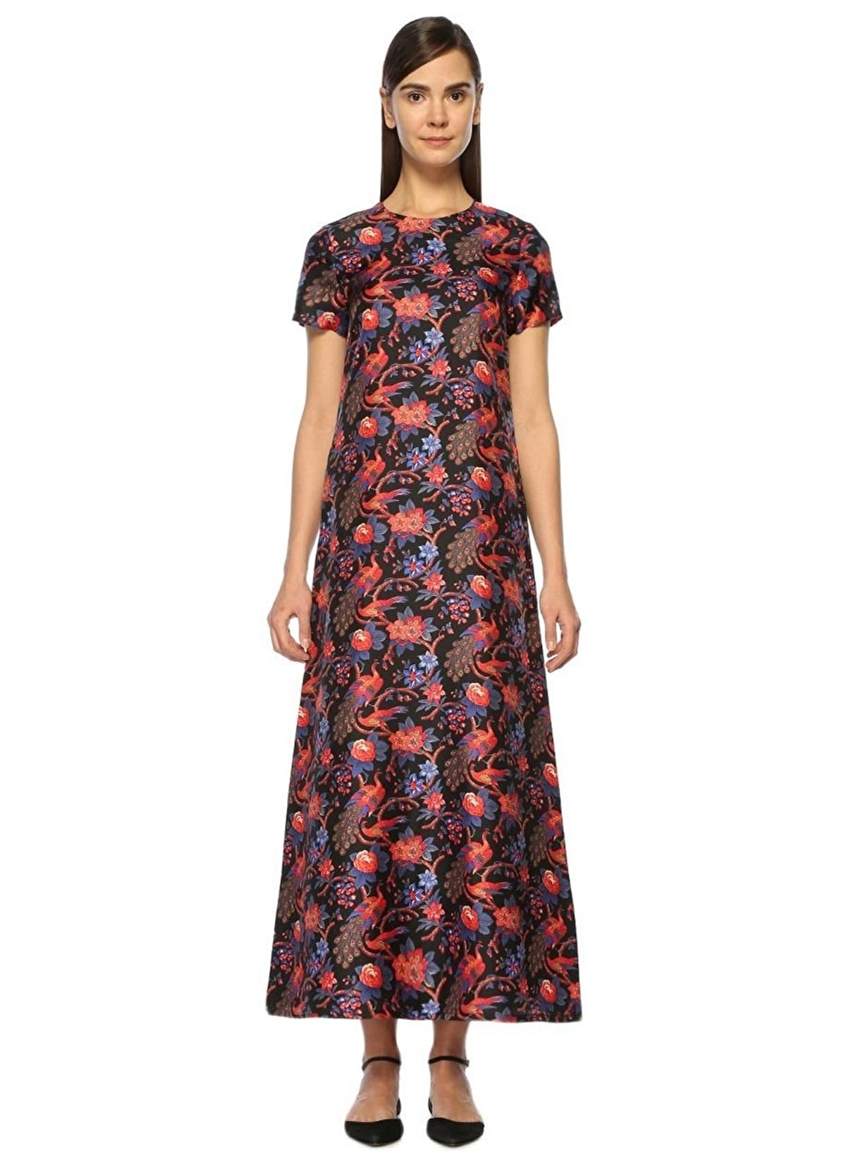 65fd5aed81e0e La Doublej Kadın Kısa Kollu Çiçekli Uzun Elbise Çok Renkli Siyah ...